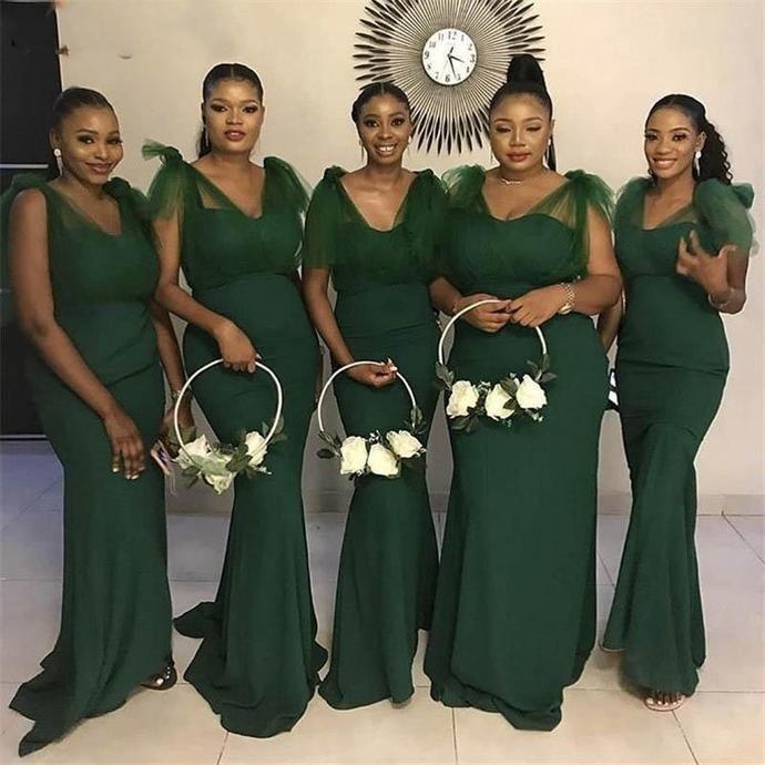 Deep Green Bridesmaid Dresses Long Mermaid V Neck Elegant Satin Cheap Wedding Guest Dresses Robe De Soiree In 2020 African Bridesmaid Dresses Wedding Guest Gowns Long Green Bridesmaid Dresses
