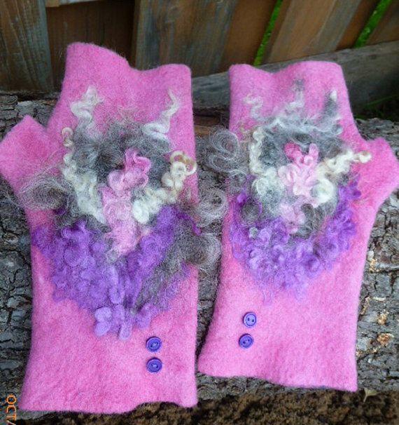 Accessories, felted fingerless  mittens, handmade  mittens, fleece decor, fingerless gloves  , fingerless mittens , arm warmers ,