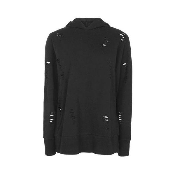 Topshop Petite Nibbled Longline Hoodie ($36) ❤ liked on Polyvore featuring tops, hoodies, black, oversized hoodie, cotton hoodie, longline hoodie, slouchy tops and oversized tops