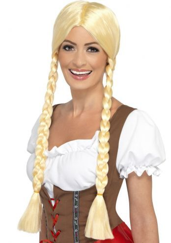 Deze Heidi pruik heeft de twee typische blonde lange vlechten van een Tiroler / Duitse bier dame. De pruik heeft een scheiding in het midden en de lange vlechten beginnen ter hoogte van de oren en is geproduceerd door Smiffy's. Leuke aanvulling op een Heidi of Oktoberfest pakje.
