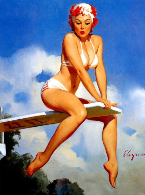 """Second Thoughts"" by Gil Elvgren 1969"