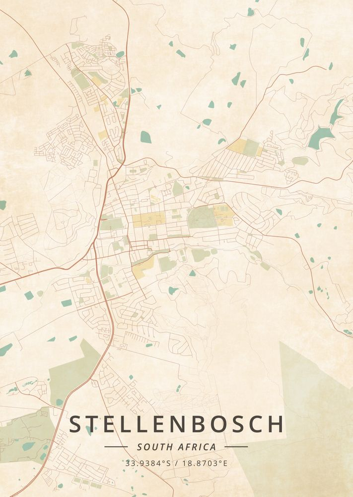 Stellenbosch South Africa Vintage Map Art Print By Designer Map Art X Small In 2020 Vintage Maps Art Map Art Print Map Art