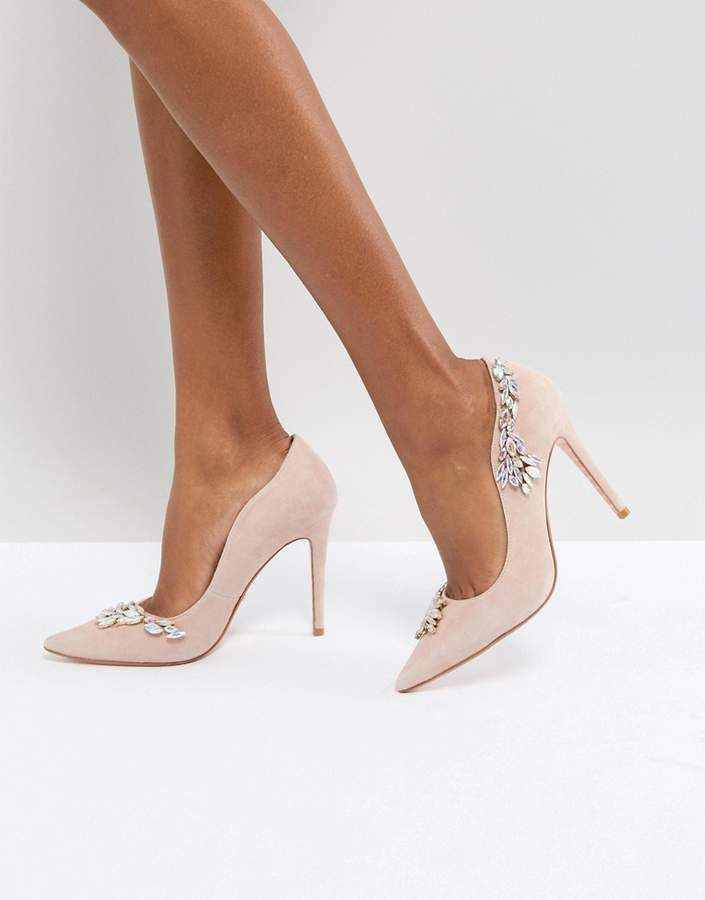 Dune Bridal Dune London Bridal Bestowed Pink Suede Court Shoe with Irredesent Beading at #asos #ad