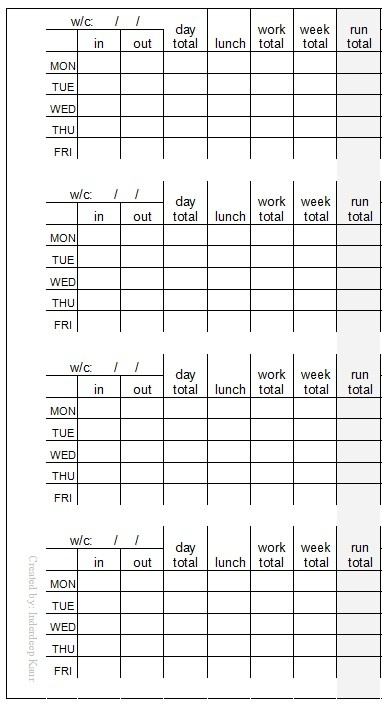 as requested, personal size timesheet or work hours insert for - printable time sheet