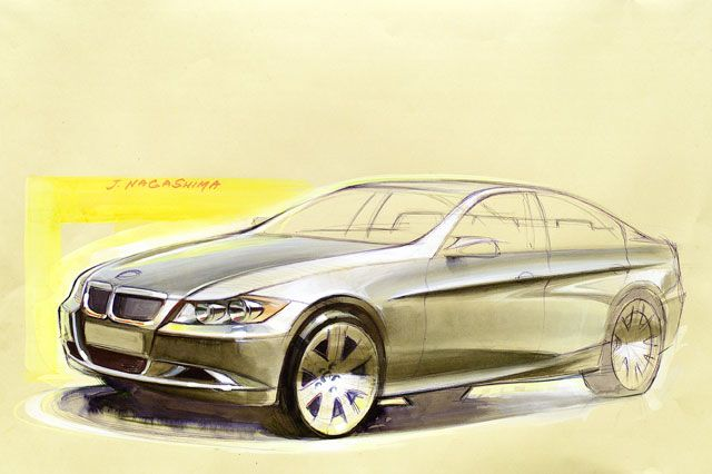 OG | 2005 BMW 3-Series Mk5 - E90 | Design sketch by Joji Nagashima