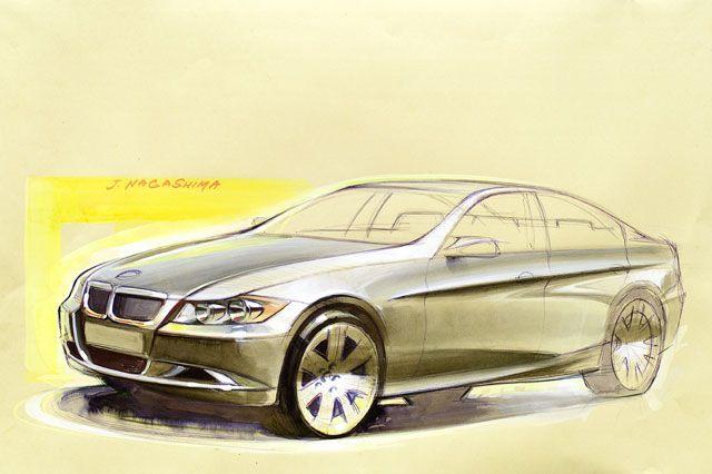 OG   2005 BMW 3-Series Mk5 - E90   Design sketch by Joji Nagashima