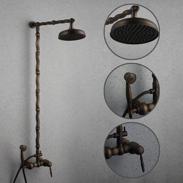 Antique Brass Single Handle Three Holes Wall Mount Rainfall + Handheld Shower Faucet TSA006