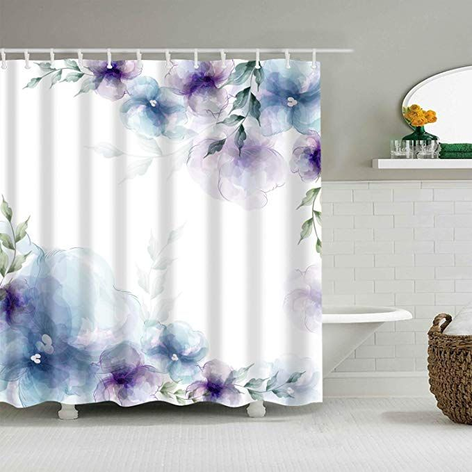 Amazon Com Broshan Watercolor Flower Bath Decor Shower Curtain Spring Retro Purple And Blue Flower Elegant Nature Art Flower Bath Bath Decor Waterproof Fabric