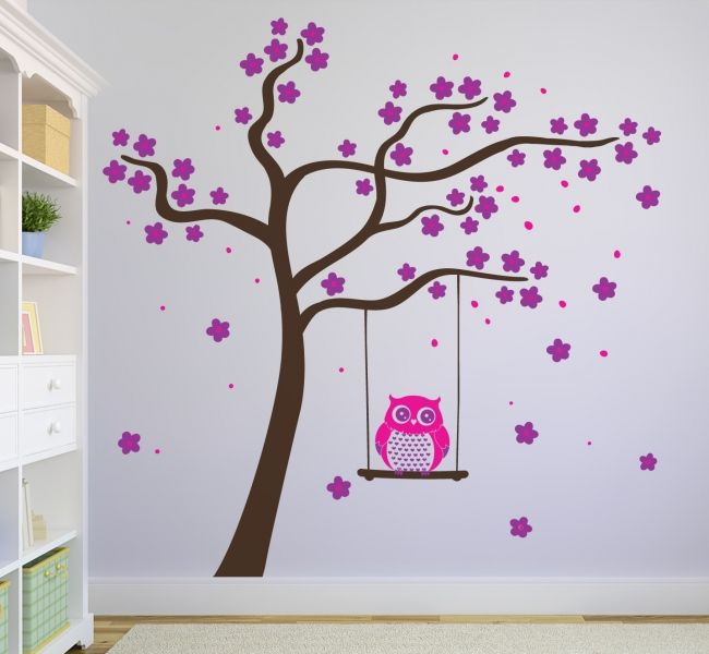 Beautiful Blossom tree with an own on a swing.   All our wall stickers/decals are available in a great range of sizes and colours - and can be personalised to be truly custom.