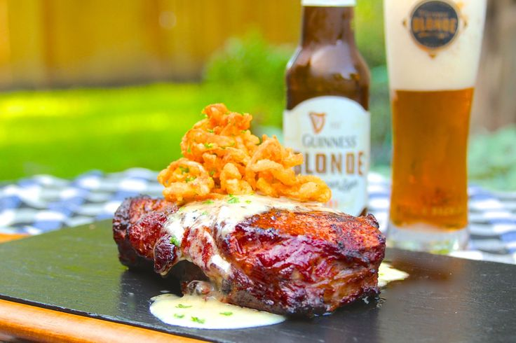 """Reverse Seared Ribeye with Meyer Lemon """"Beer Blanc"""" and Fried Onion Strings"""