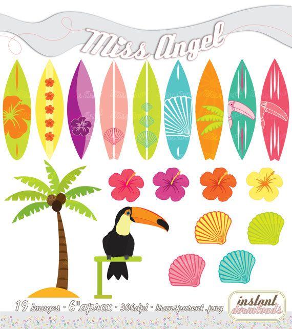 """CLIPART définie l'été, imprimable Palmtree, Toucan, coquilles, planches de surf, Hibiscus. 19 images numériques 6"""" Illustrations. Orange, vert, rose, jaune"""