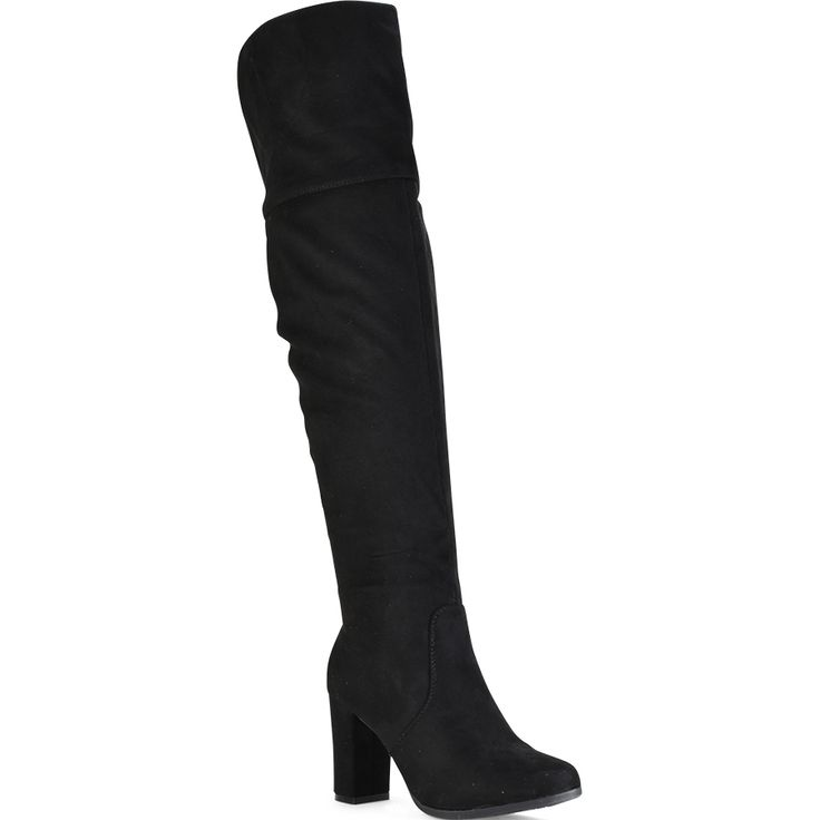 Black suede over the knee boot Lets Walk JN77-05