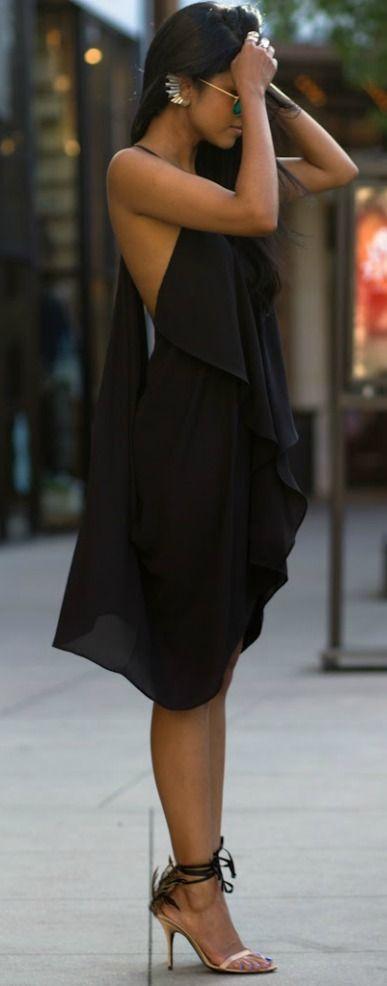 Flowy black dress.