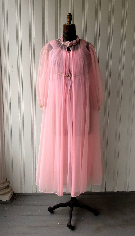 1960s Pink Chiffon Peignoir Set Rosette applique sheer