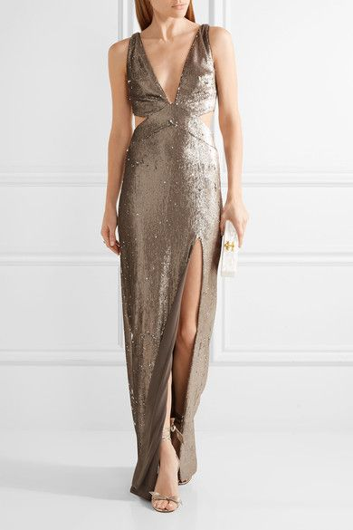 Silver sequined stretch-jersey  Concealed hook and zip fastening at back 95% polyester, 5% elastane; lining: 92% polyester, 8% elastane Dry clean Designer color: Antique SilverLarge to size. See Size & Fit notes.