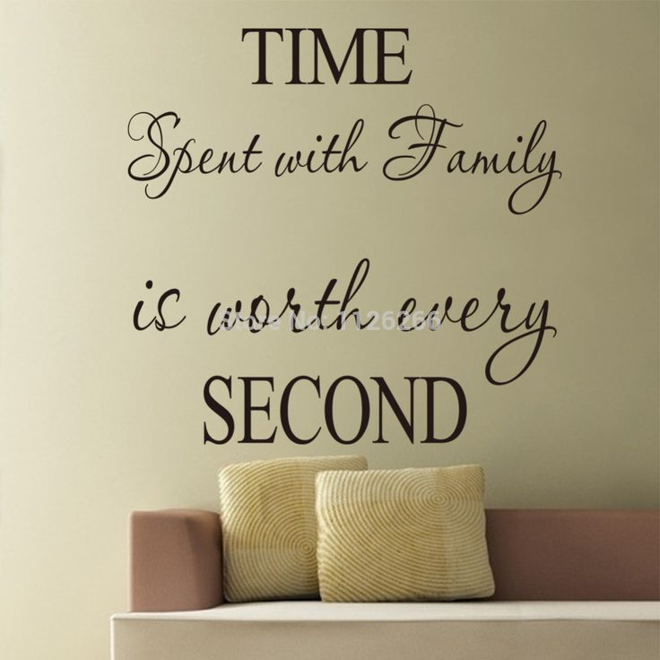 Removable Wall Stickers Quotes Time Spent With Family Is Worth Every Second Wall  Decals Vinyl Stickers