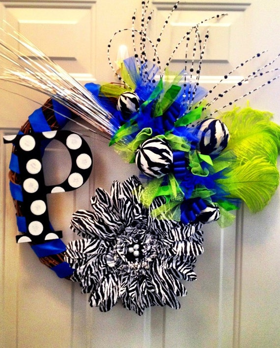 The Alison  All Occasion Wreath with initial by DanaCarolDesigns, $98.00: Doors Wreaths, Crafts Ideas, Zebras Crafts, Limes Green, Bedrooms Doors, Zebras Prints, Occasion Wreaths, Electric Blue, Occa Wreaths