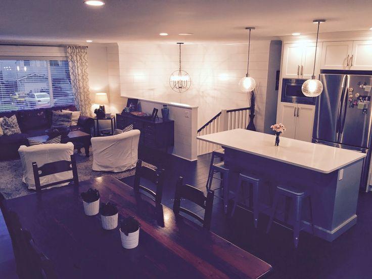 Split-level renovation ideas; open-concept floor plan; BC box renovation; white kitchen; west elm lighting