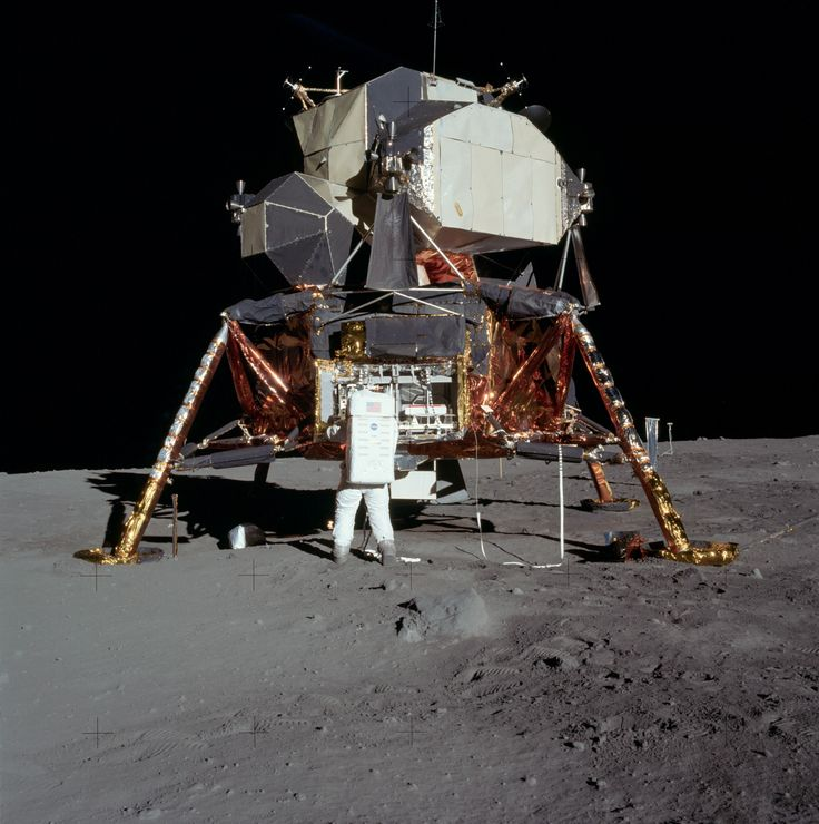 "Apollo 11 (allegedly!) landed the first humans, Americans Neil Armstrong and Edwin ""Buzz"" Aldrin, Jr, on Earth's Moon on July 20, 1969, at 20:17:39 UTC. Here, the Eagle on the Moon's surface."