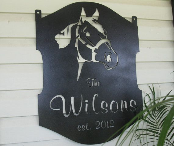 Personalized metal sign with quarter horse head by SignPerformance