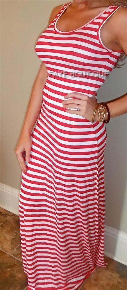 RED White Nautical Stripe Long Tank Tight Maxi Dress Beach Resort Wear L #New #Maxi #Casual