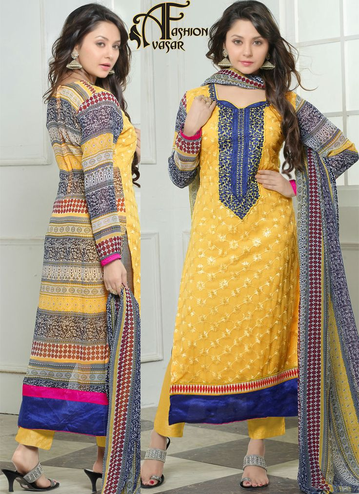 Georgette Anarkali Suits Online Shopping.Style and trend would be on the peak of your beauty when you attire this Butter Scotch & Deep Blue Georgette