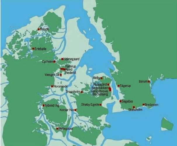 Bopladsfund fra jæger stenalder i Danmark.