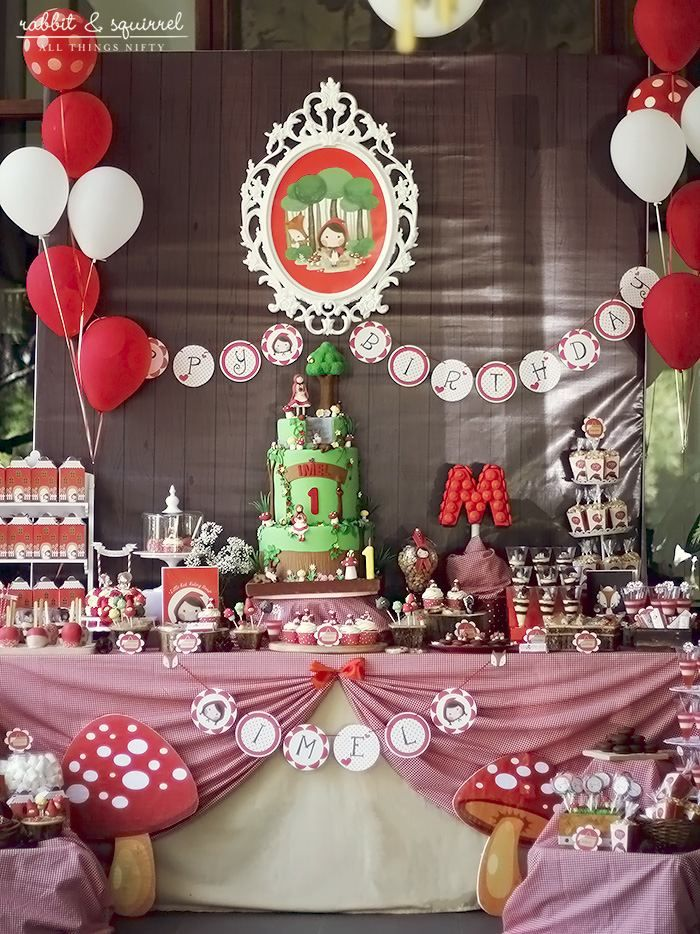 Little Red Riding Hood 1st Birthday Party Full of Really Cute Ideas via Kara's Party Ideas KarasPartyIdeas.com #littleredridinghoodparty #1stbirthdayparty #partyideas