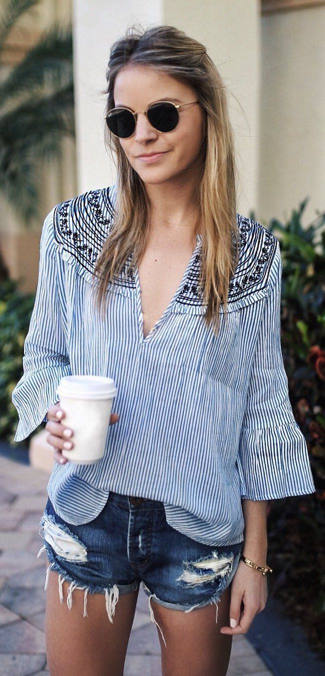 Navy Striped Blouse / Ripped Denim Short