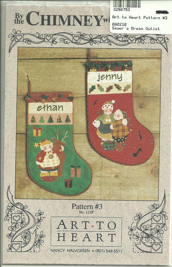 Modello di calza di Natale dal camino con cura #3 Penstitch Fusible Applique