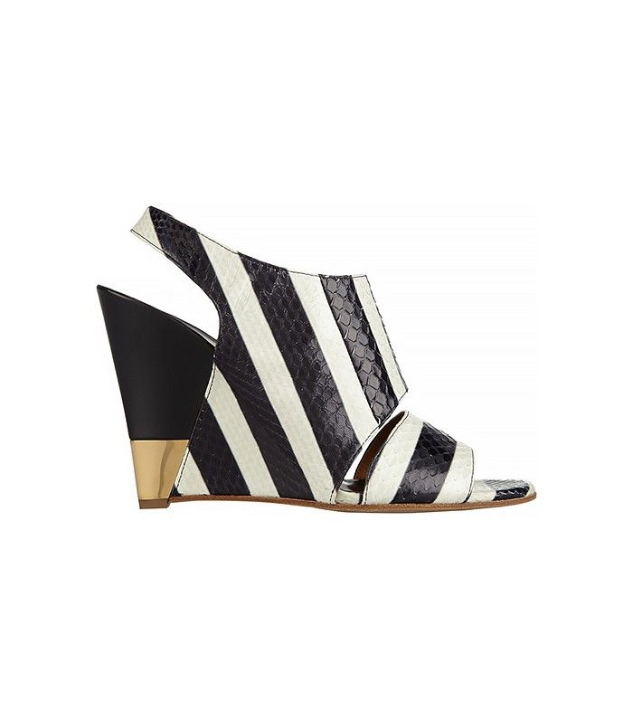 Chloé Striped Ayers Wedge Sandals in black and white