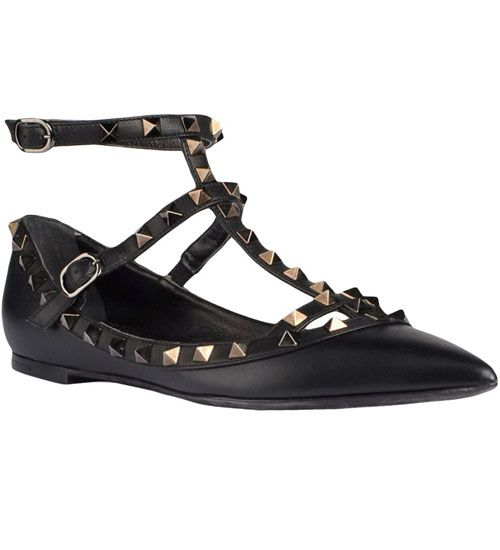 Valentino Rockstud Double Ankle Strap All Black Leather Ballerina Flats - $160.00 http://www.lhbon.com/valentino-rockstud-double-ankle-strap-all-black-leather-ballerina-flats-p-3969.html