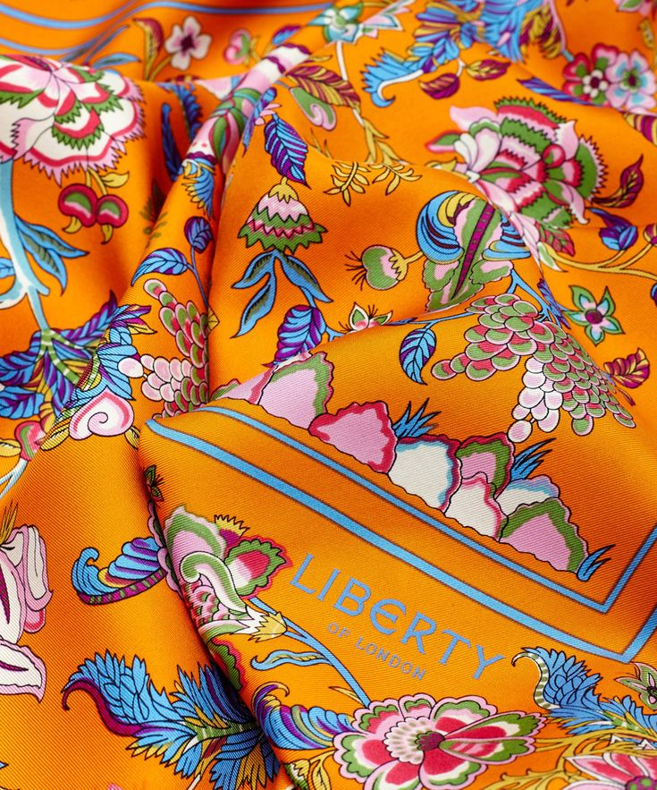 Liberty London Orange Tree of Life Silk Scarf | Silk Scarves by Liberty London | Liberty.co.uk