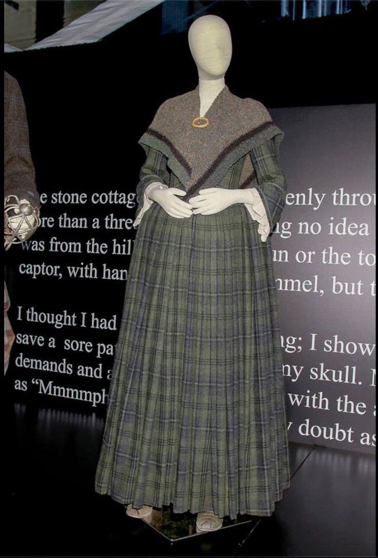"""Claire Beauchamp Randall 18th Century Tartan Dress """"I was driving through the Scottish countryside one day and a large fir branch had fallen across the road. It was beautiful tones of silver grey bark and green needles. It was the inspiration for this gown."""" -- Costume Designer Terry Dresbach"""