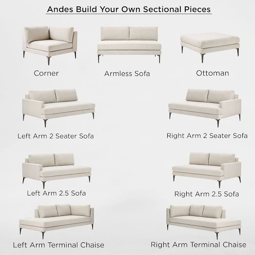 Build Your Own - Andes Sectional Pieces - Right Arm Terminal Chaise, Armless Sofa, Corner, Ottoman OR Right Arm Terminal Chaise and Left Arm 2.5 Seater Sofa.