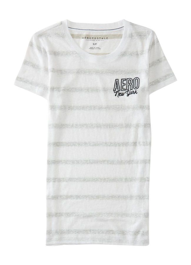 f79e93482 NEW Aeropostale Womens White & Gray Reverse Striped Embroidered T-Shirt  Size XL #amp#Gray#White