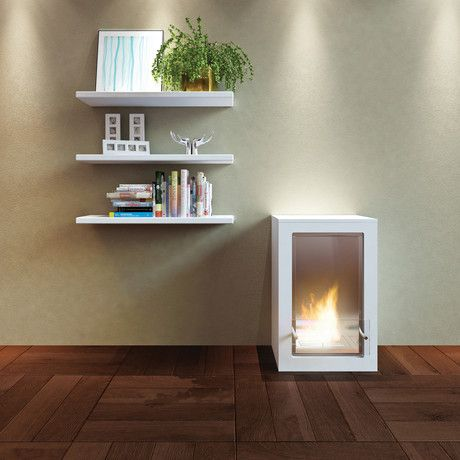 This little white fireplace would be perfect for my loft.  <3
