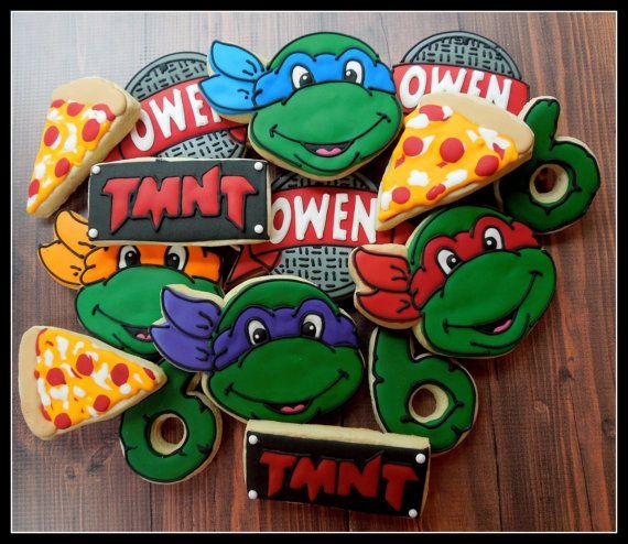 Handmade and Decorated Teenage Mutant Ninja Turtle Cookie Set Sugar Cookies on Etsy, $40.00