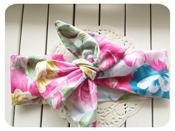 Baby Headwrap Floral Print vintage Boho top knot by AllureHandmade