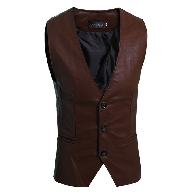 Special price SHOWERSMILE Brand Mens Brown Leather Vest Motorcycle Sleeveless Jackets Man Suit Vest Classic Male Black Waistcoat just only $20.21 with free shipping worldwide  #jacketscoatsformen Plese click on picture to see our special price for you