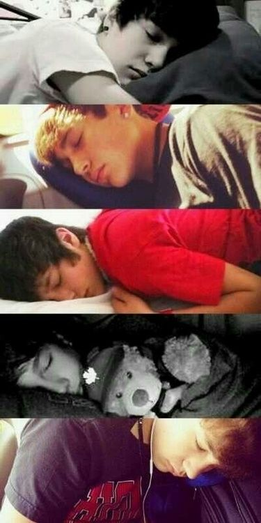 Austin Mahone Sleeping i love all of them especially the one with the teddy bear