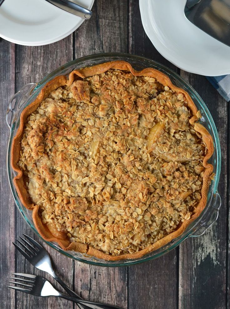 caramel peach crumble pie