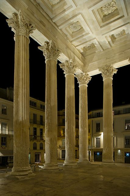 Maison Carrée Roman Temple, Nîmes, France It was built c. 16 BC, and reconstructed in the following years, by Marcus Vipsanius Agrippa, who was also the original patron of the Pantheon in Rome, and was dedicated or rededicated c. 2-4/5 AD to his two sons, Gaius Caesar and Lucius Caesar, adopted heirs of Augustus who both died young