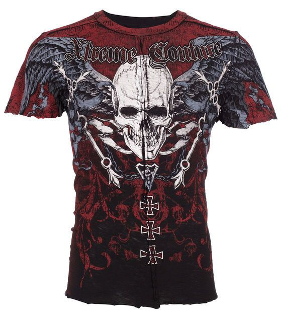 Xtreme Couture AFFLICTION Mens T-Shirt SMASHED Skull Tattoo Biker UFC S-4XL $40 #Affliction #GraphicTee