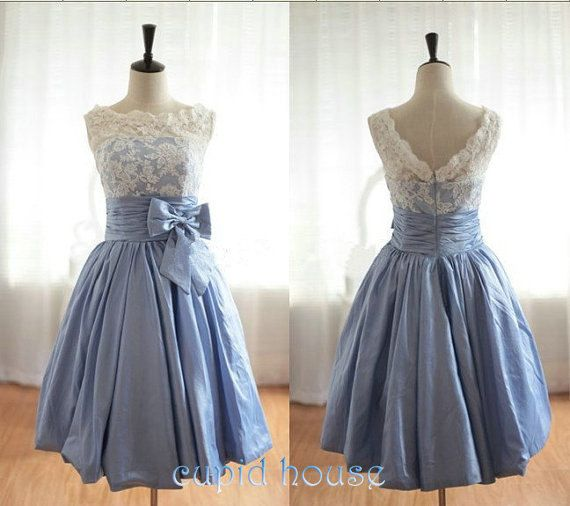 Lace Bridesmaid DressAline Scoop Kneelength Lace by CupidHouse, $79.00