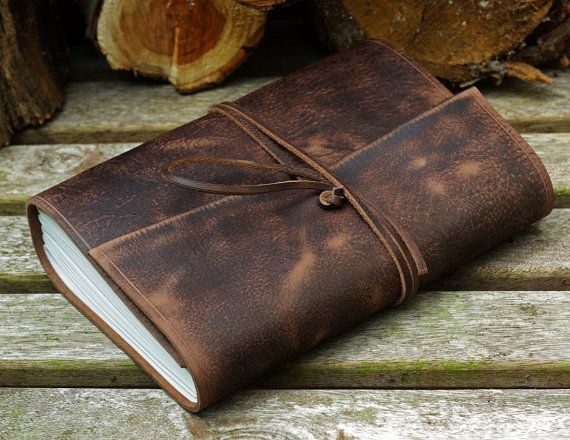 A5, Medium, Distressed Leather Journal, Leather Wraparound Journal, Travel Journal, Dark Brown Leather, Wrap Notebook, Blank Book, Rustic.