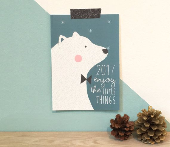 "Carte de voeux ""Bonne année"" 2017 ours polaire - Greeting card ""Happy New Year"" 2017 polar bear ""enjoy the little things"""
