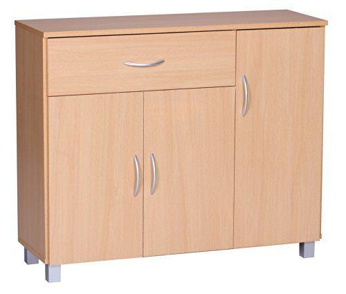 WOHNLING Sideboard Buche 90 x 75 cm mit 3 Türen & 1 Schublade