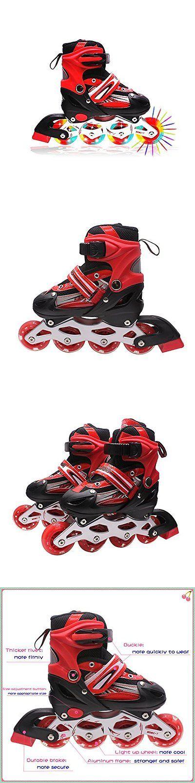 Youth 47345: Kids Light Up Inline Roller Skates Adjustable Rollerblades Unisex Red M -> BUY IT NOW ONLY: $73.95 on eBay!