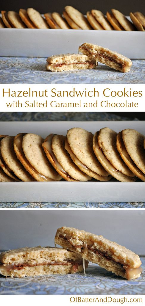 Hazelnut cookies with salted caramel and chocolate